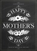 Vintage Happy Mothers's Day Typographical Background On Chalkboard — Stock Photo