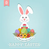 Happy Easter Typographical Background With Bunny — Stock Photo