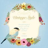 Beautiful Vintage Vector Card With Bird And Spring Flowers — Stock Photo