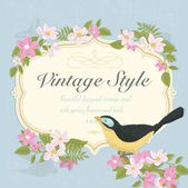 Beautiful Vintage Vector Card With Bird And Spring Flowers — Stockfoto