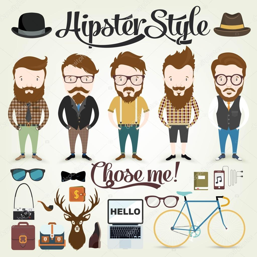 Character Design Illustration : Hipster character illustration in info graphic concept