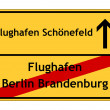 Airport Berlin Brandenburg no - airport Schönefeld yes sign — Stock Photo