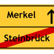 Steinbrück no - Merkel yes sign — Stock Photo