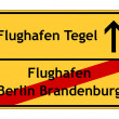 Airport Berlin Brandenburg no - airport tegel yes sign — Stock Photo