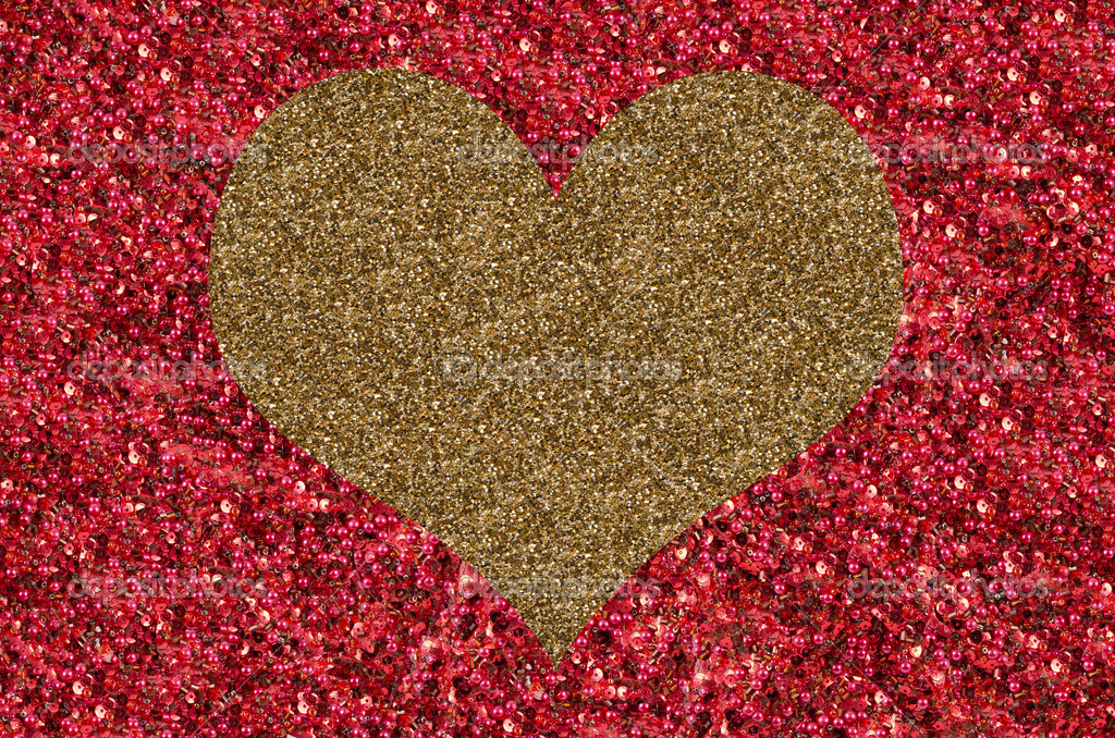 Golden heart on red background  Stock Photo #19229351