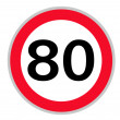 Stock Photo: Speed limit 80