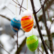 Stock Photo: Easter eggs with snow cover