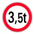 Stock Photo: Traffic sign: bfor vehicles over 3.5 tonnes weight
