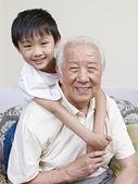 Asian grandpa and grandson — Stock Photo