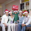 Asian Family with Christmas Hats — Stock Photo