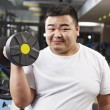 Stock Photo: Overweight mexercising