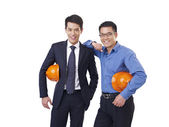 Asian men with orange safety hat — Stock Photo