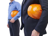 Men with orange safety hat — Stock Photo