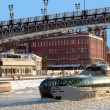 Stock Photo: Pleasure boat on Moscow river icebreaker