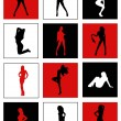 Silhouettes of dancing girls — Stock Vector #18474077