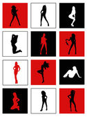 Silhouettes of dancing girls — Stock Vector
