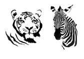 Tiger and zebra — Stock Vector