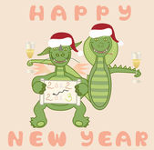 Dragon and snake celebrate the New Year — Cтоковый вектор