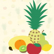 Fruits on fruit background — Stock Vector