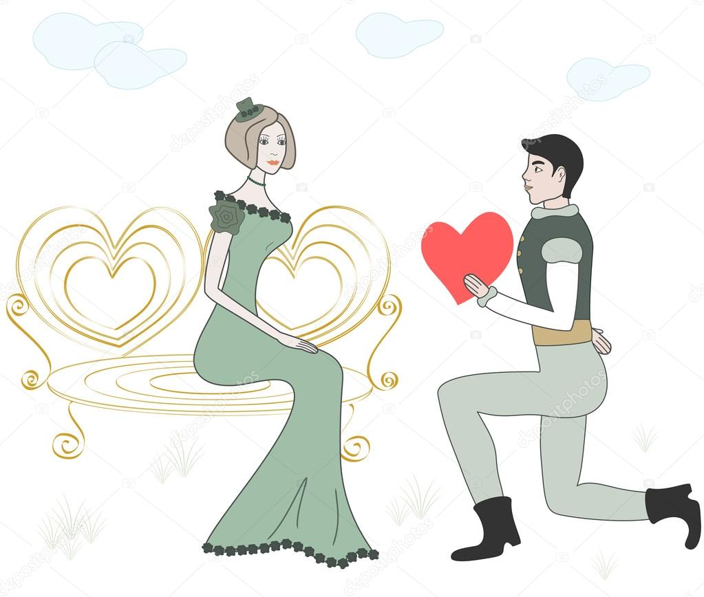 Vector illustration of men and women in love — Stok Vektör #18652941