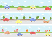 Cars on road — Stock Vector