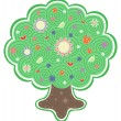 Veautiful tree with flowers — Stock Vector