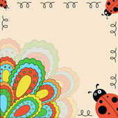 Multi-colored card with ladybugs — Cтоковый вектор