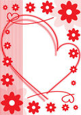 Holiday card of red flowers and hearts — Stock vektor
