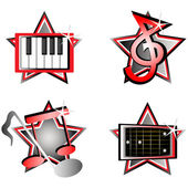 Iconos musicales — Vector de stock