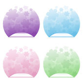 Colored stickers with flowers — Stock Vector