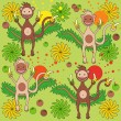 Stock Vector: Background - monkey with bananas