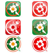Icons in the form of clock with scrambled eggs, knife and fork — Stock Vector