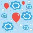 Beautiful background with balloons clouds and rain — Stock Vector