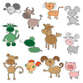 Colored funny animals — Vector de stock