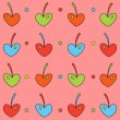 Stock Vector: Background of colored cherry hearts