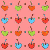 Background of colored cherry hearts — Stok Vektör