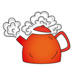Boiling red teapot — Stock Vector