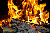 Fire in the fireplace — Stock Photo