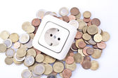 Electrical outlet with money — Stockfoto