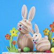 Two wooden rabbits - Stock Photo