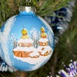 Christmas theme on a tree — Stock fotografie