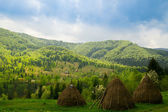Beautiful view with three hayricks in mountains. Carpathian. Ukraine. — Stock Photo