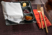 Light breakfast with homemade jam and butter on wooden table — Foto Stock