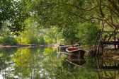 Boats on the river framed by greenery, Nayang, Phuket, Thailand — Stock Photo