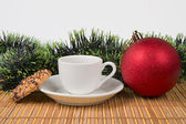 Cake and cup of tea with christmas decoration — Stock Photo