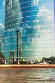 Blue skyscraper facade in Chao Praya river, Bangkok, Thailand — Stock Photo