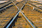 Railway. Components and system of sleepers and  rails — Stock Photo