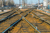 Ukrainian railway.  switch at Kharkiv  Passenger Railway Station, Ukraine — Stock Photo