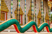 World snake tail, Architectural elements of  Wat Kaeo Manee Si Mahathat, Thailand — Stock Photo