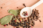Wood spoon with spices — Stock Photo